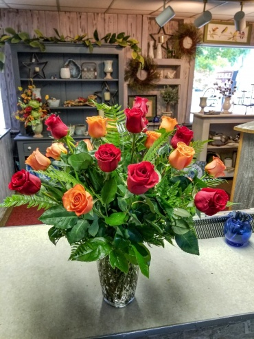 multi colored rose arrangement